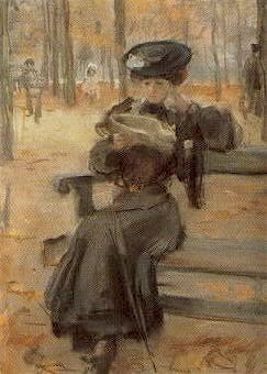 Lezende Dame In De Jardin Des Tuileries